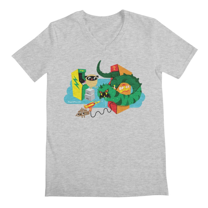 Pug and Poo Arcade Men's Regular V-Neck by Pug and Poo's Store
