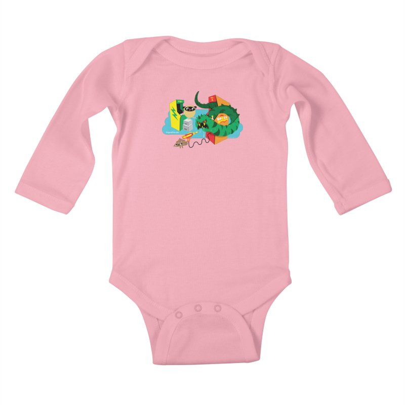 Pug and Poo Arcade Kids Baby Longsleeve Bodysuit by Pug and Poo's Store