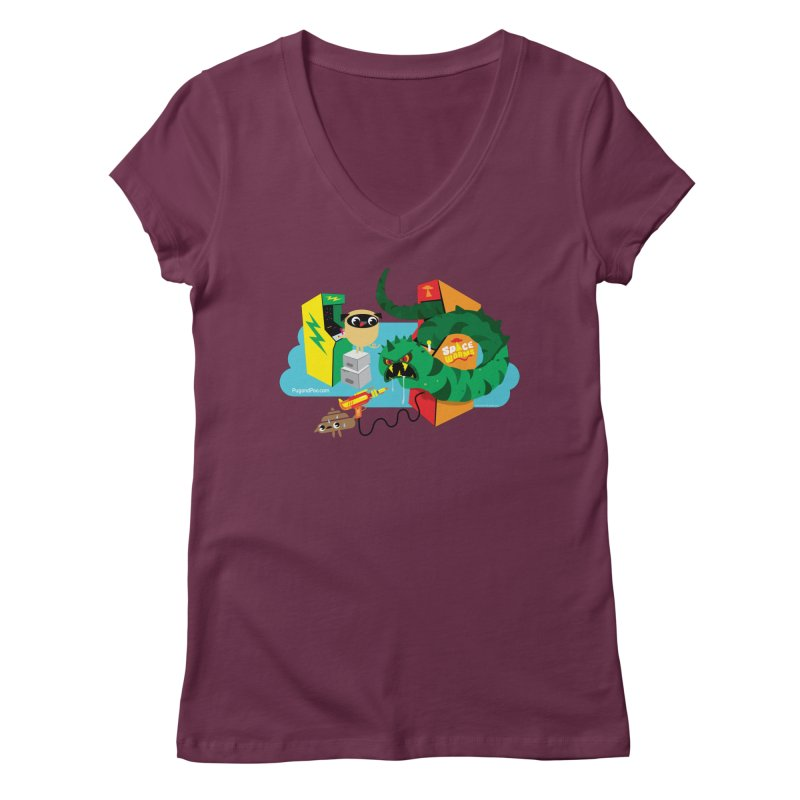 Pug and Poo Arcade Women's Regular V-Neck by Pug and Poo's Store