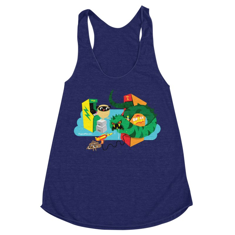 Pug and Poo Arcade Women's Racerback Triblend Tank by Pug and Poo's Store