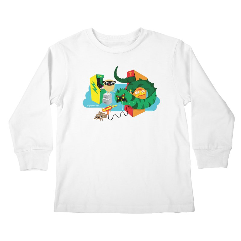 Pug and Poo Arcade Kids Longsleeve T-Shirt by Pug and Poo's Store