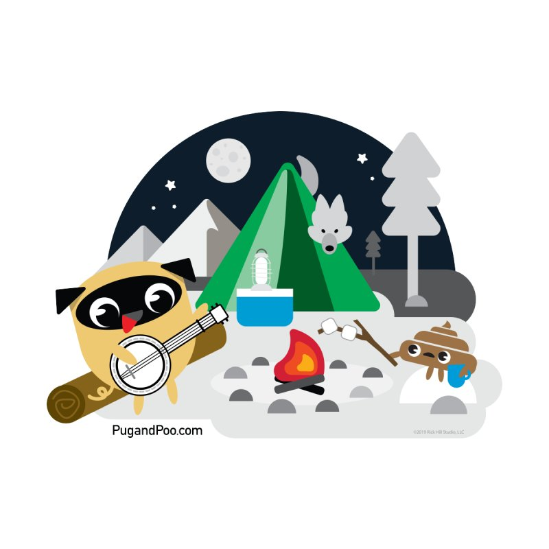 Pug and Poo Campfire Accessories Sticker by Pug and Poo's Store