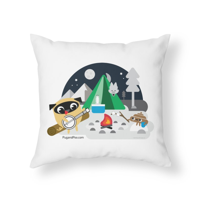 Pug and Poo Campfire Home Throw Pillow by Pug and Poo's Store