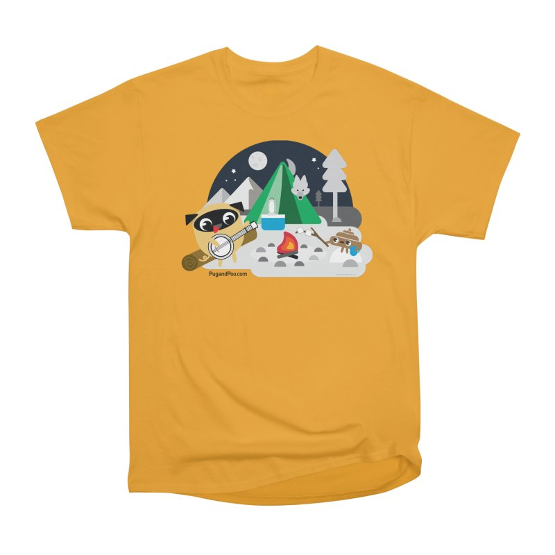 Pug and Poo Campfire Women's Heavyweight Unisex T-Shirt by Pug and Poo's Store