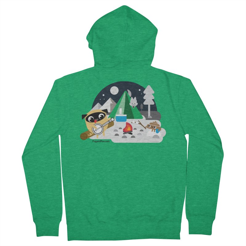 Pug and Poo Campfire Men's Zip-Up Hoody by Pug and Poo's Store