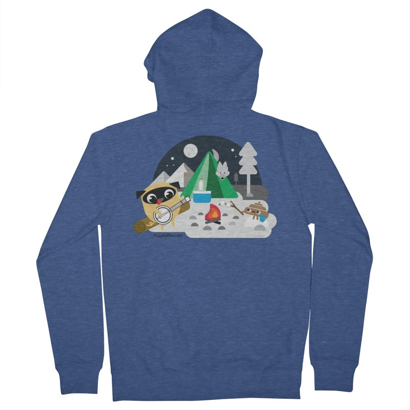 Pug and Poo Campfire Men's French Terry Zip-Up Hoody by Pug and Poo's Store
