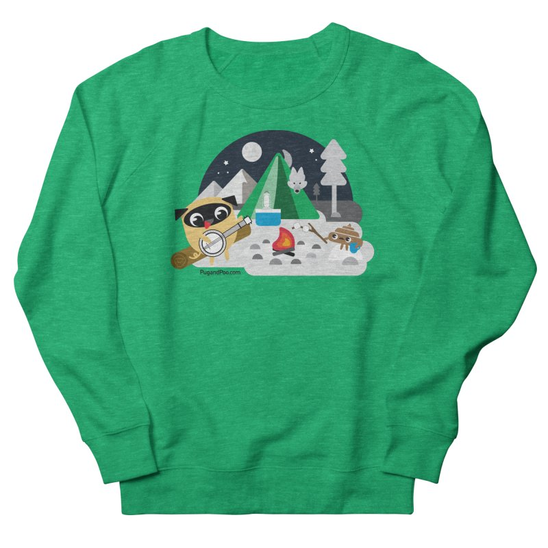 Pug and Poo Campfire Men's French Terry Sweatshirt by Pug and Poo's Store