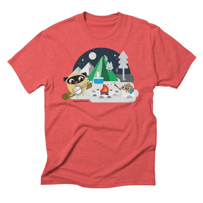 Pug and Poo Campfire Men's Triblend T-Shirt by Pug and Poo's Store