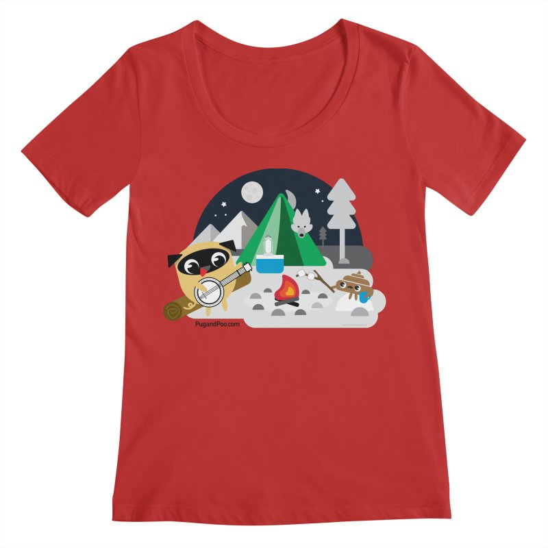 Pug and Poo Campfire Women's Regular Scoop Neck by Pug and Poo's Store