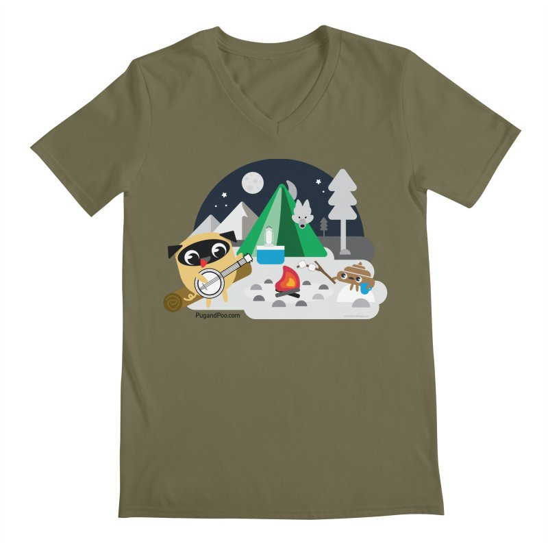 Pug and Poo Campfire Men's Regular V-Neck by Pug and Poo's Store