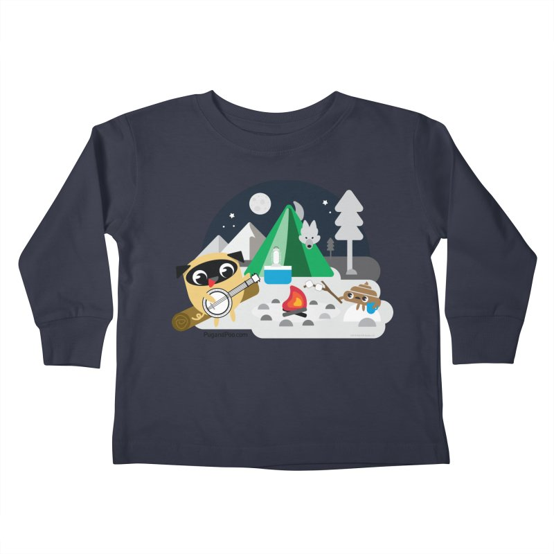 Pug and Poo Campfire Kids Toddler Longsleeve T-Shirt by Pug and Poo's Store