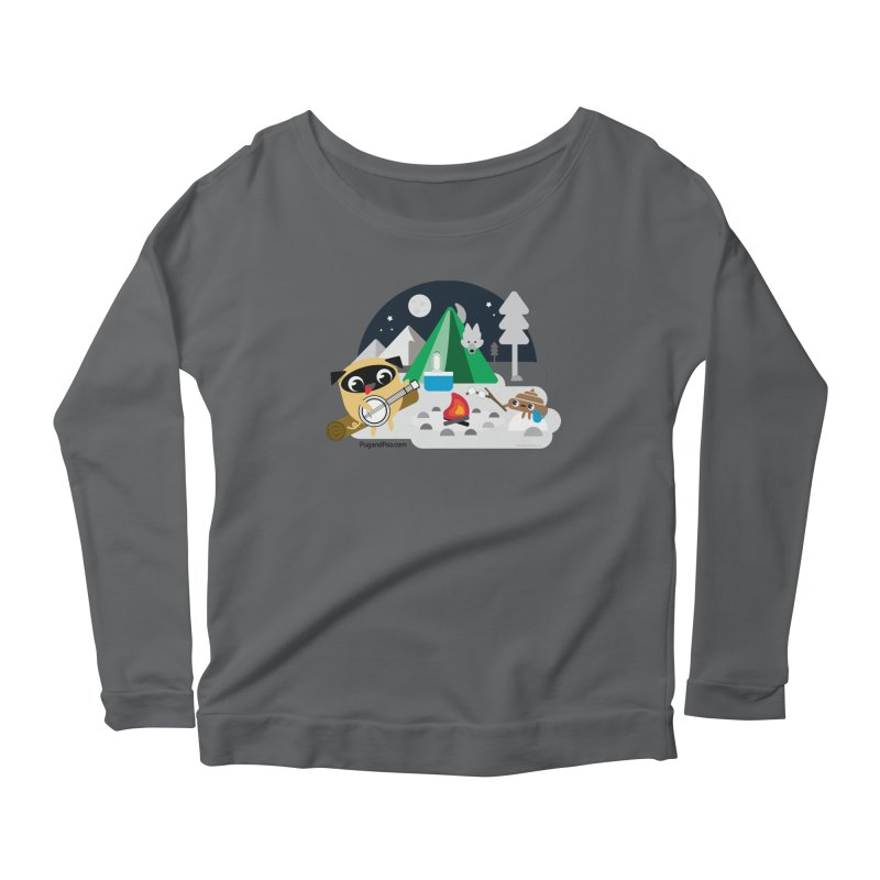 Pug and Poo Campfire Women's Scoop Neck Longsleeve T-Shirt by Pug and Poo's Store