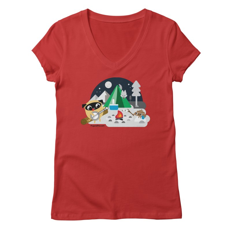 Pug and Poo Campfire Women's Regular V-Neck by Pug and Poo's Store