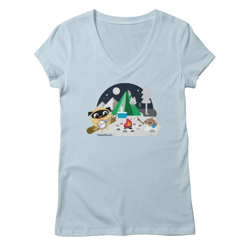 Pug and Poo Campfire Women's V-Neck by Pug and Poo's Store
