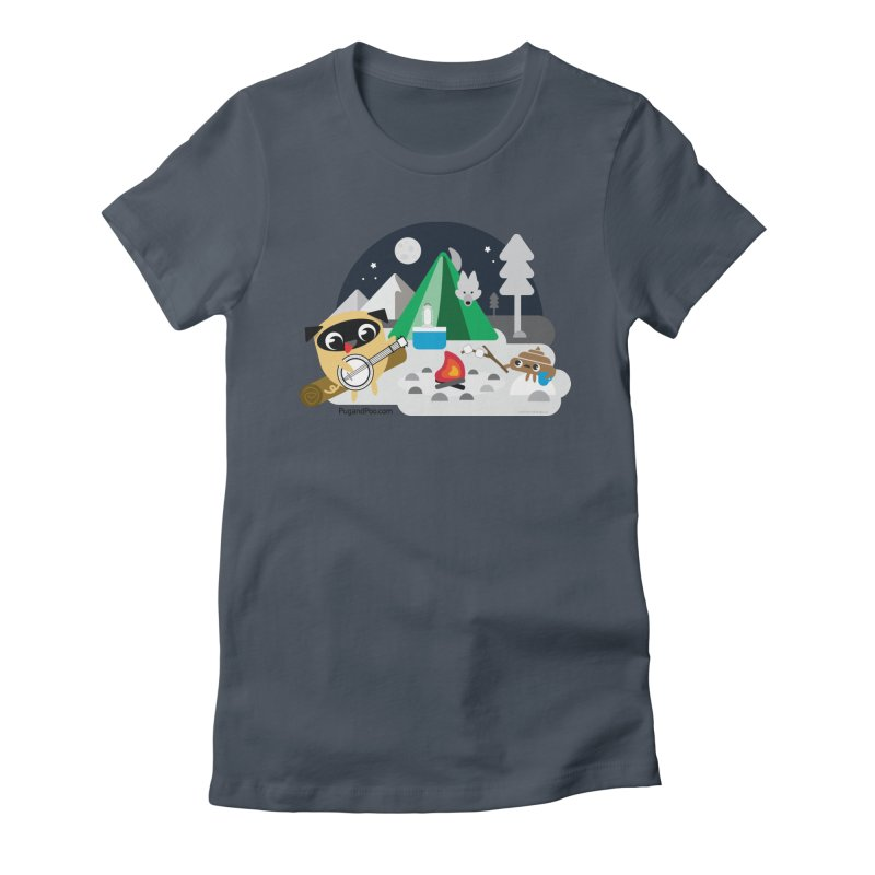 Pug and Poo Campfire Women's Fitted T-Shirt by Pug and Poo's Store