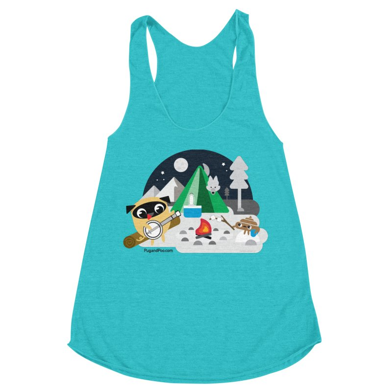 Pug and Poo Campfire Women's Racerback Triblend Tank by Pug and Poo's Store