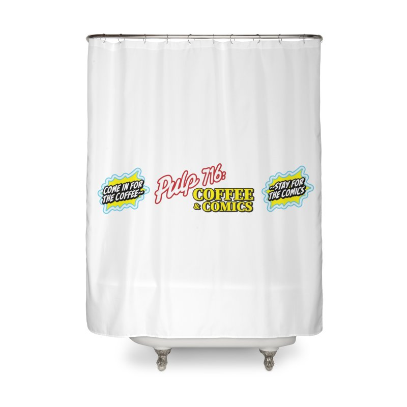 Pulp 716 Retro Diner Logo Home Shower Curtain by Pulp 716 Coffee & Comics collection by threadless