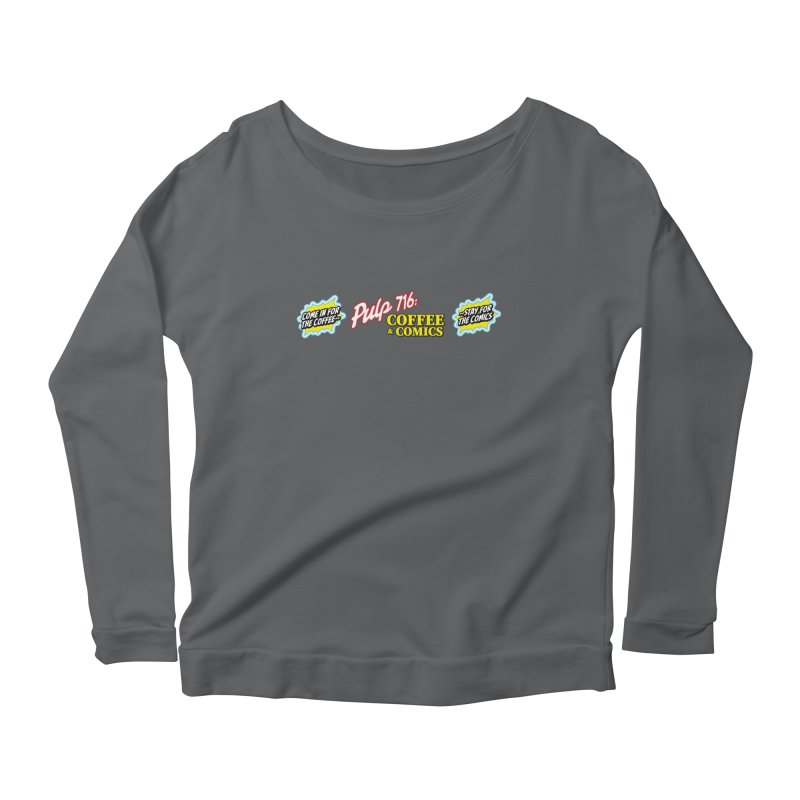Pulp 716 Retro Diner Logo Women's Longsleeve T-Shirt by Pulp 716 Coffee & Comics collection by threadless