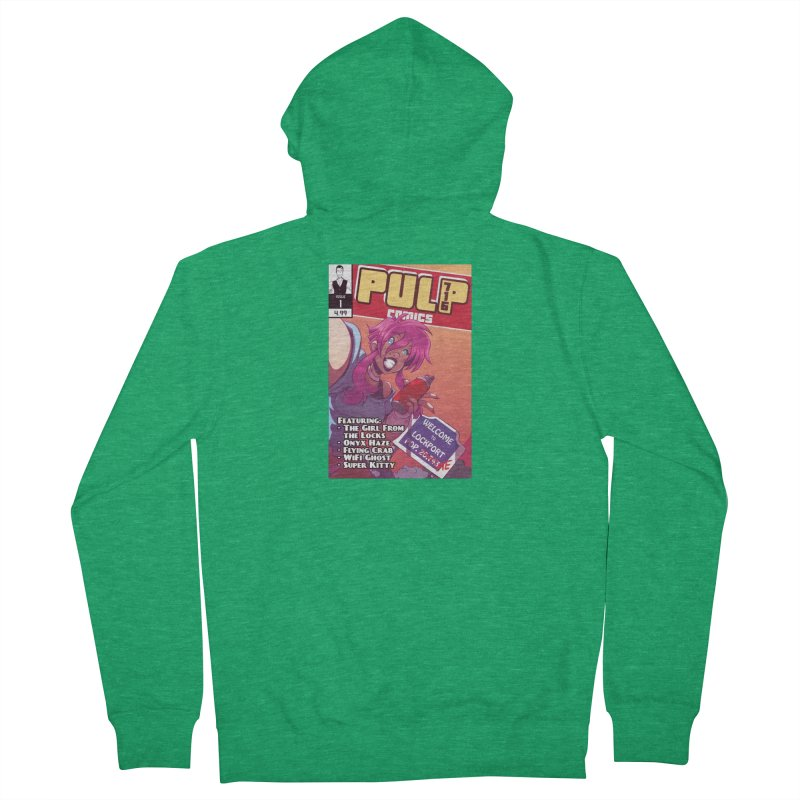 Pulp 716: The Girl From the Locks Men's Zip-Up Hoody by Pulp 716 Coffee & Comics collection by threadless