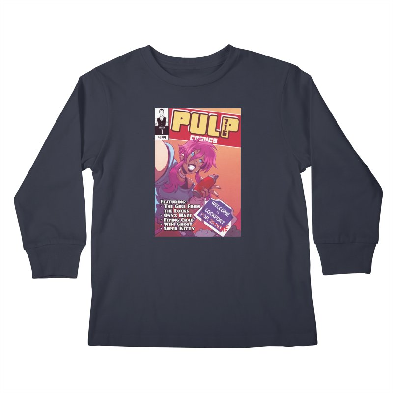Pulp 716: The Girl From the Locks Kids Longsleeve T-Shirt by Pulp 716 Coffee & Comics collection by threadless