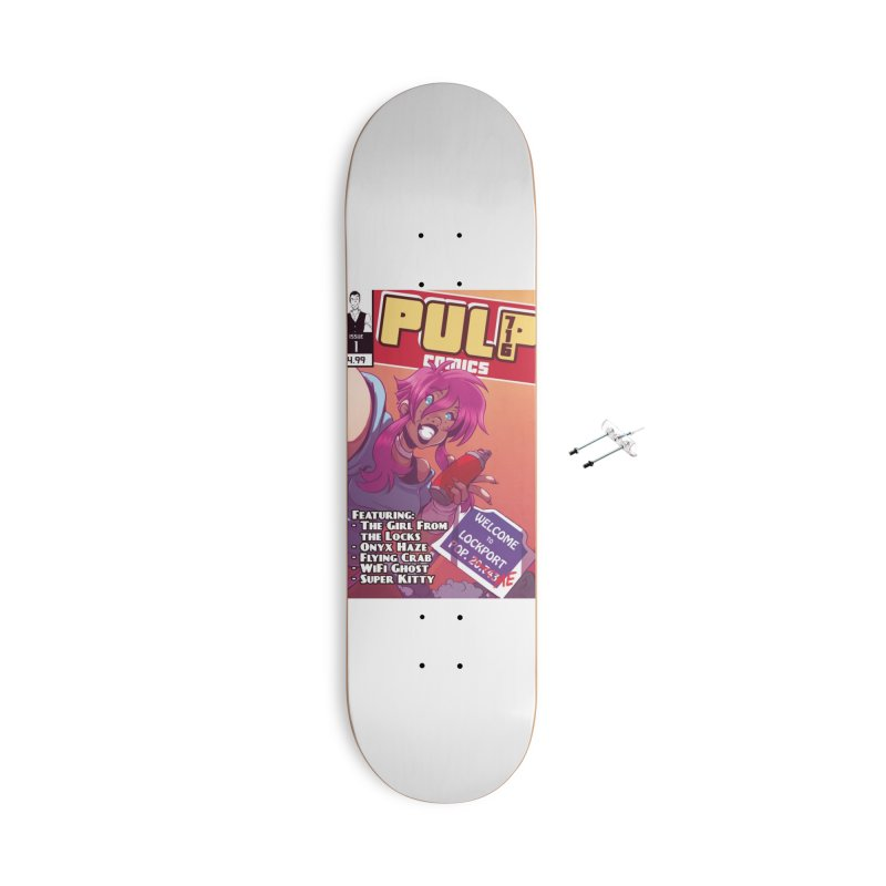 Pulp 716: The Girl From the Locks Accessories Skateboard by Pulp 716 Coffee & Comics collection by threadless