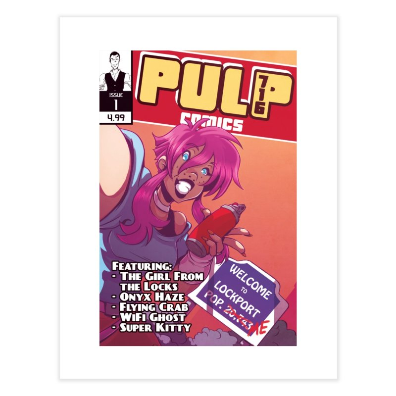 Pulp 716: The Girl From the Locks Home Fine Art Print by Pulp 716 Coffee & Comics collection by threadless