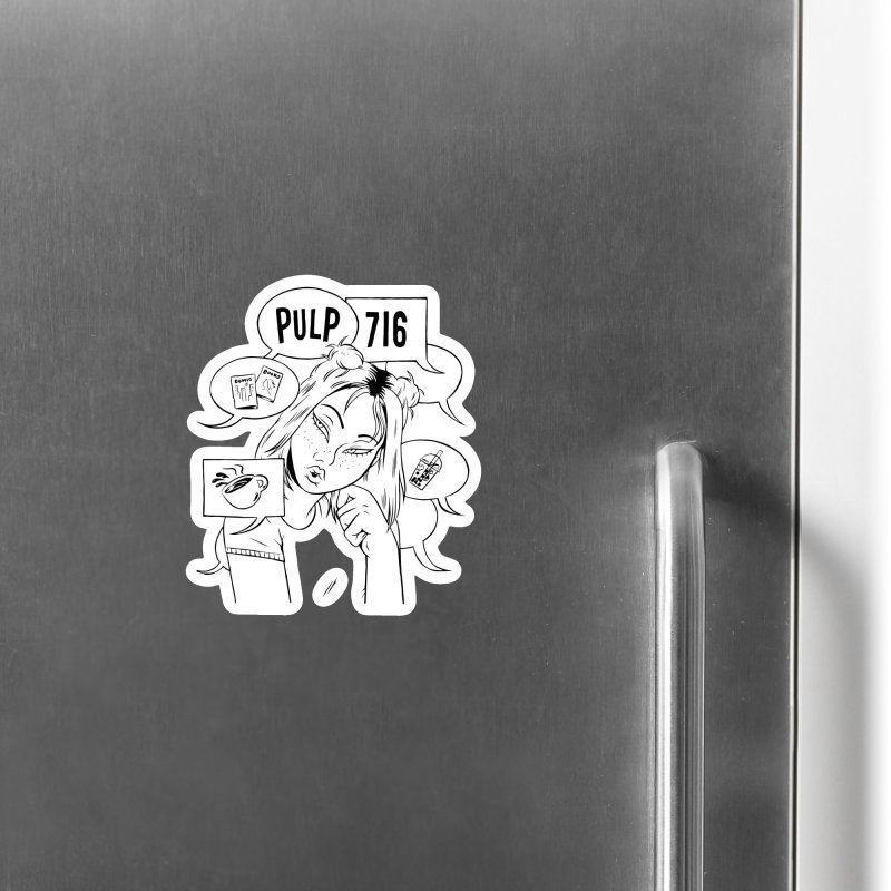 Pulp 716 Coffee & Comics Logo Accessories Magnet by Pulp 716 Coffee & Comics collection by threadless