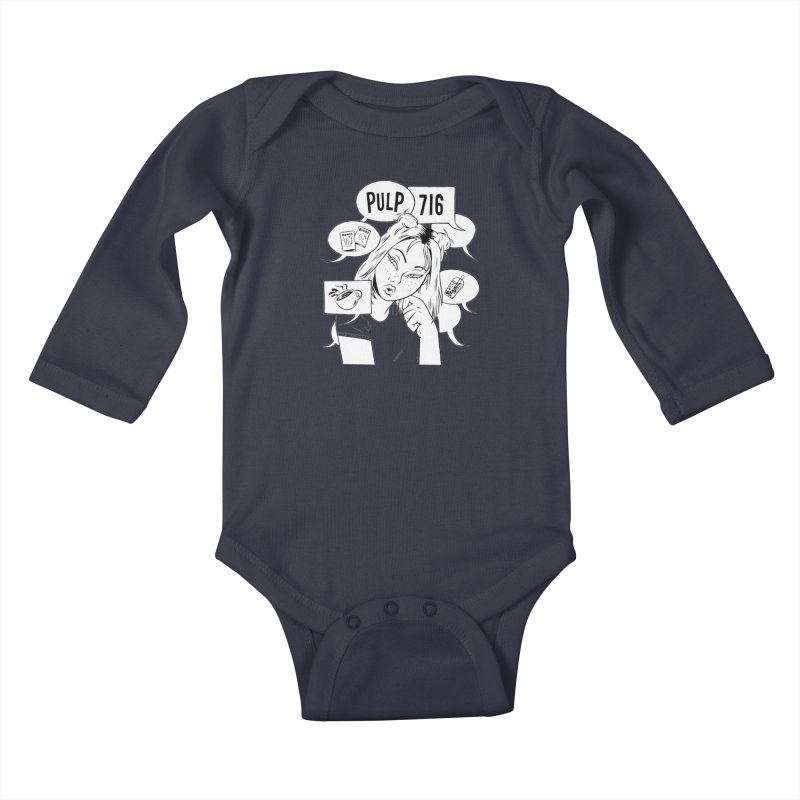 Pulp 716 Coffee & Comics Logo Kids Baby Longsleeve Bodysuit by Pulp 716 Coffee & Comics collection by threadless