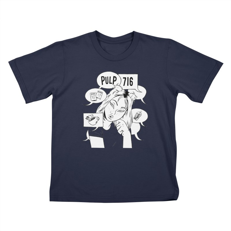 Pulp 716 Coffee & Comics Logo Kids T-Shirt by Pulp 716 Coffee & Comics collection by threadless