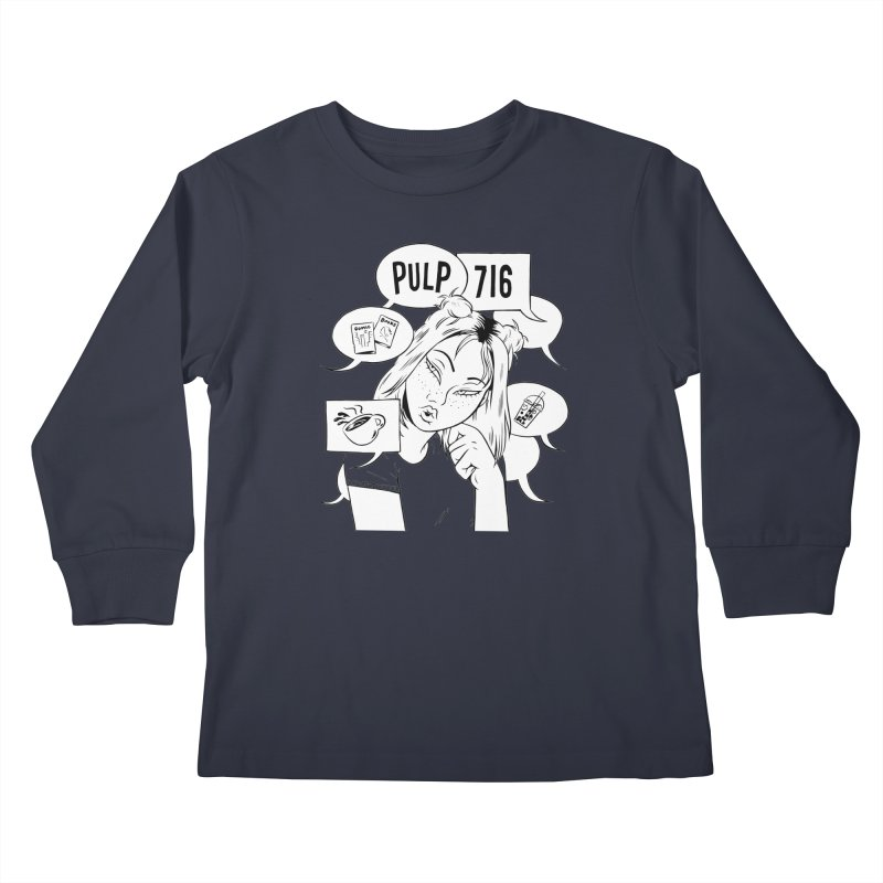 Pulp 716 Coffee & Comics Logo Kids Longsleeve T-Shirt by Pulp 716 Coffee & Comics collection by threadless