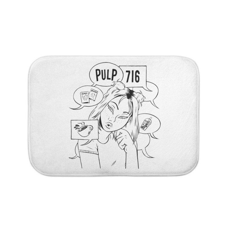 Pulp 716 Coffee & Comics Logo Home Bath Mat by Pulp 716 Coffee & Comics collection by threadless