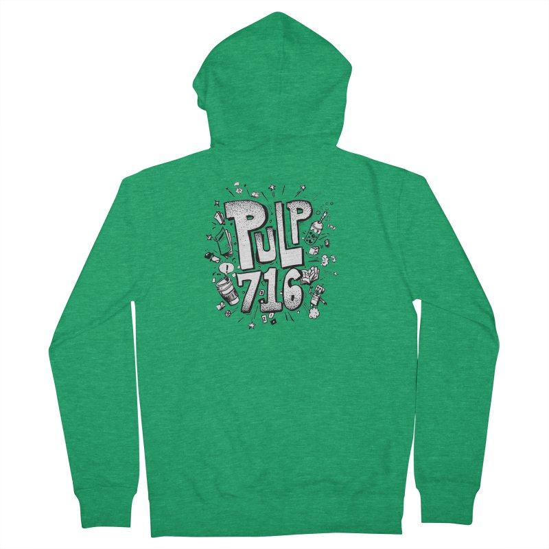 Pulp 716 pop art logo Men's Zip-Up Hoody by Pulp 716 Coffee & Comics collection by threadless