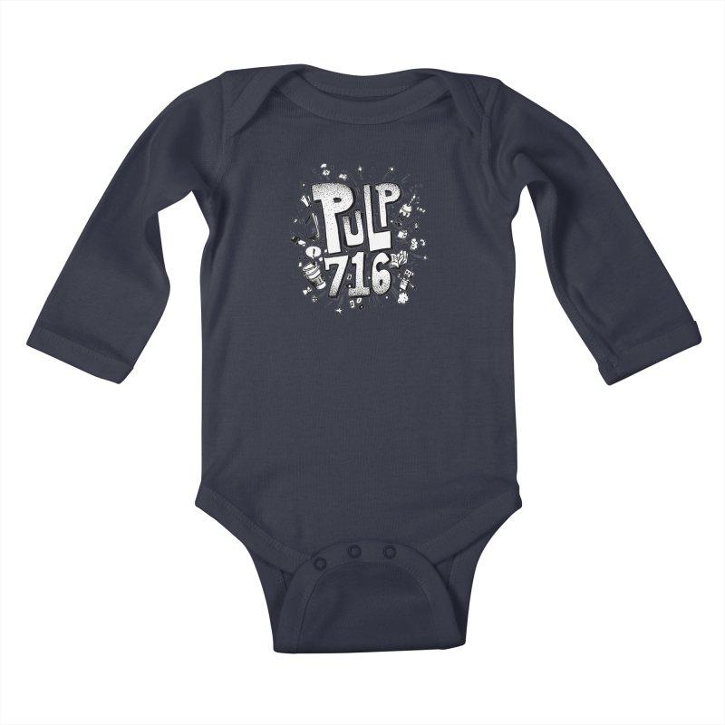 Pulp 716 pop art logo Kids Baby Longsleeve Bodysuit by Pulp 716 Coffee & Comics collection by threadless