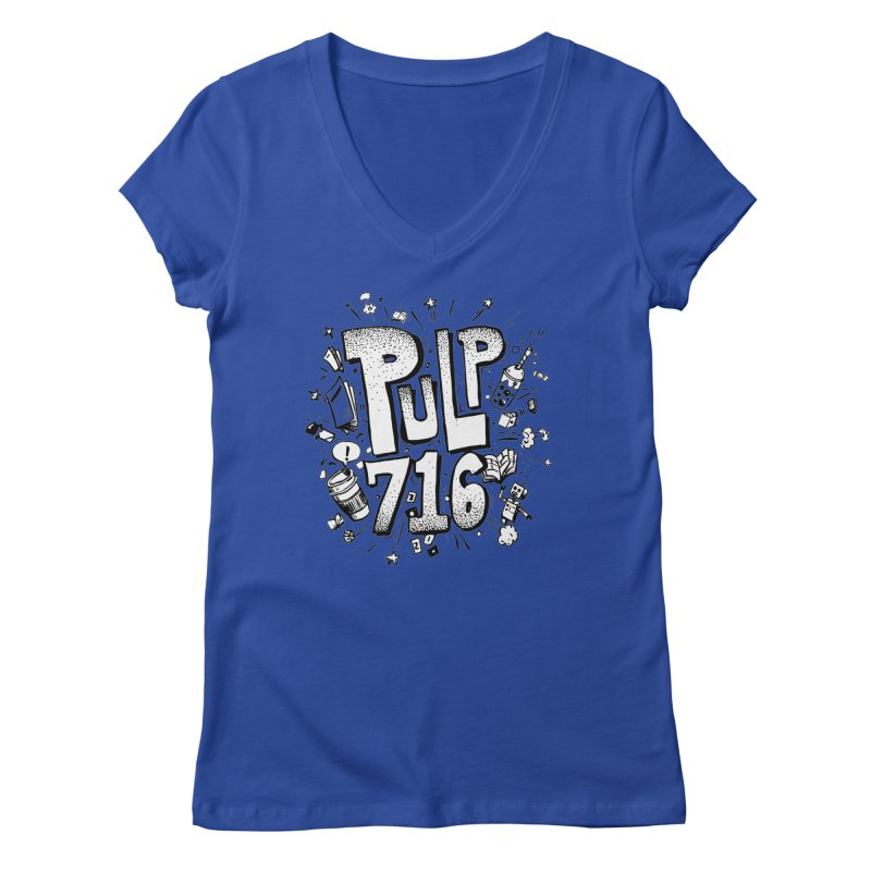 Pulp 716 pop art logo Women's V-Neck by Pulp 716 Coffee & Comics collection by threadless