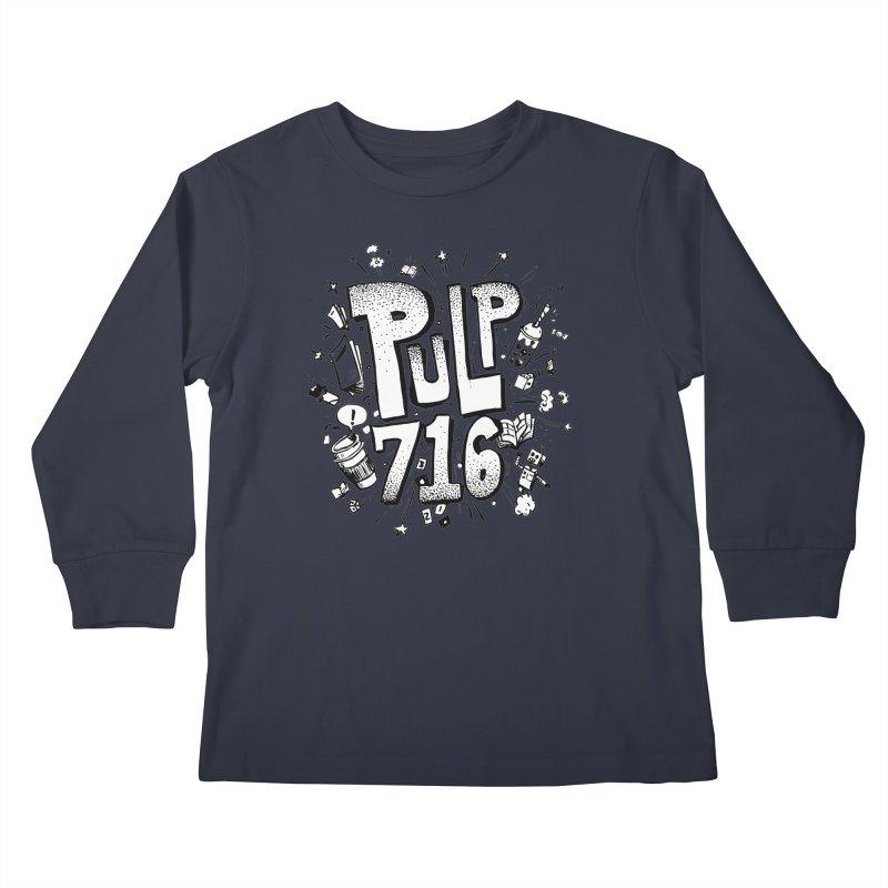 Pulp 716 pop art logo Kids Longsleeve T-Shirt by Pulp 716 Coffee & Comics collection by threadless