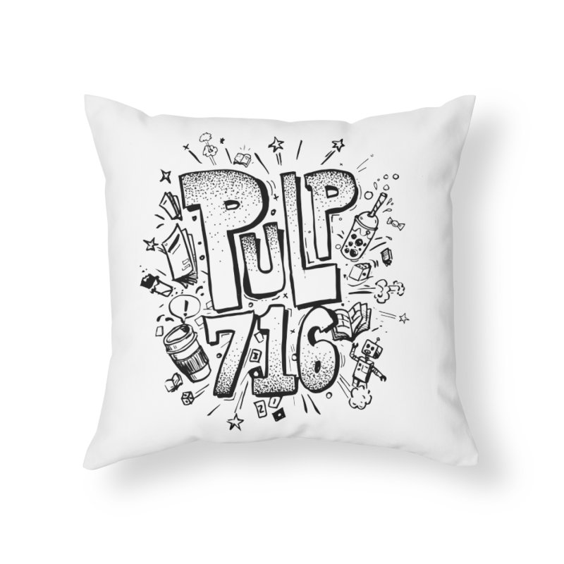Pulp 716 pop art logo Home Throw Pillow by Pulp 716 Coffee & Comics collection by threadless