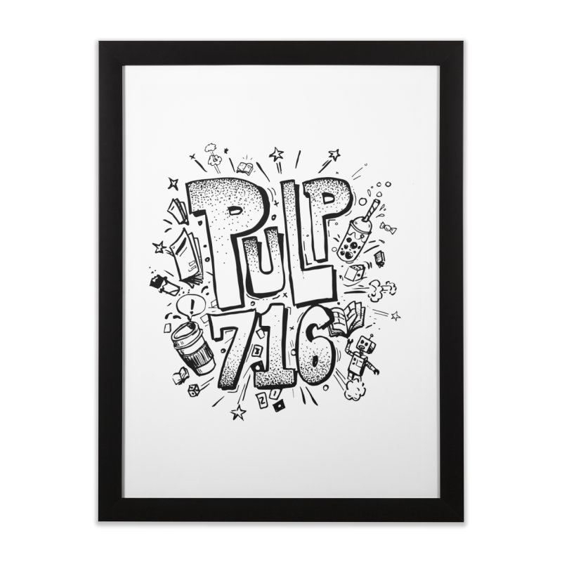 Pulp 716 pop art logo Home Framed Fine Art Print by Pulp 716 Coffee & Comics collection by threadless