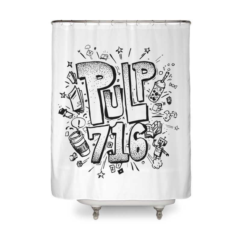 Pulp 716 pop art logo Home Shower Curtain by Pulp 716 Coffee & Comics collection by threadless
