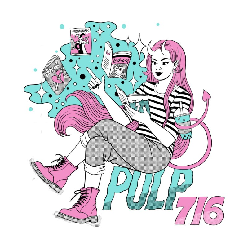 Pulp 716 by Jenn Woodall Women's V-Neck by Pulp 716 Coffee & Comics collection by threadless