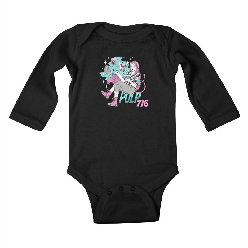 Pulp 716 by Jenn Woodall Kids Baby Longsleeve Bodysuit by Pulp 716 Coffee & Comics collection by threadless