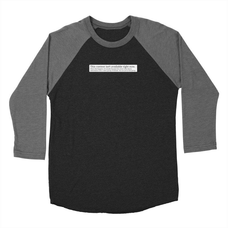 Content Not Available Women's Baseball Triblend Longsleeve T-Shirt by Puttyhead's Artist Shop