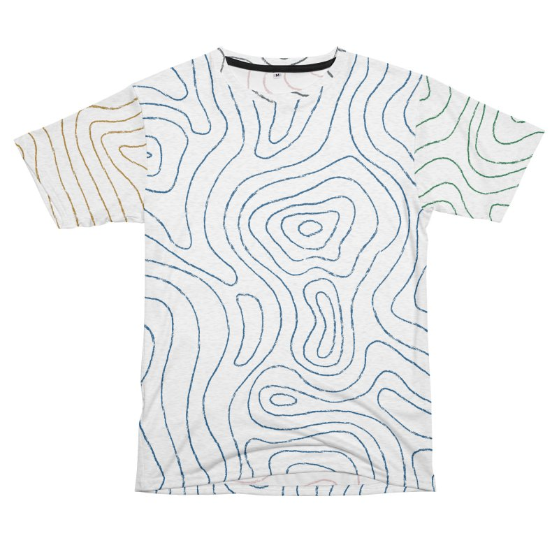 Sketchy Topo Lines Men's French Terry T-Shirt Cut & Sew by Puttyhead's Artist Shop