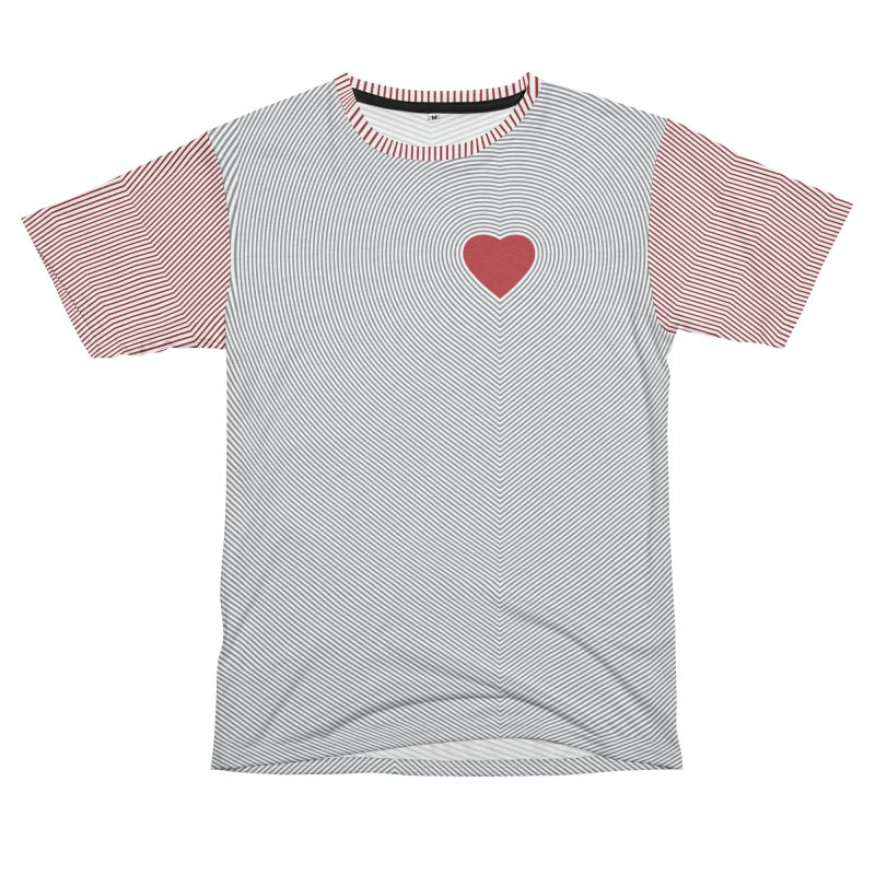 Radiating Heart Women's Unisex French Terry T-Shirt Cut & Sew by Puttyhead's Artist Shop