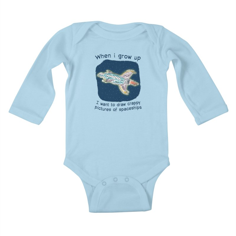Crappy Spaceships Kids Baby Longsleeve Bodysuit by Puttyhead's Artist Shop