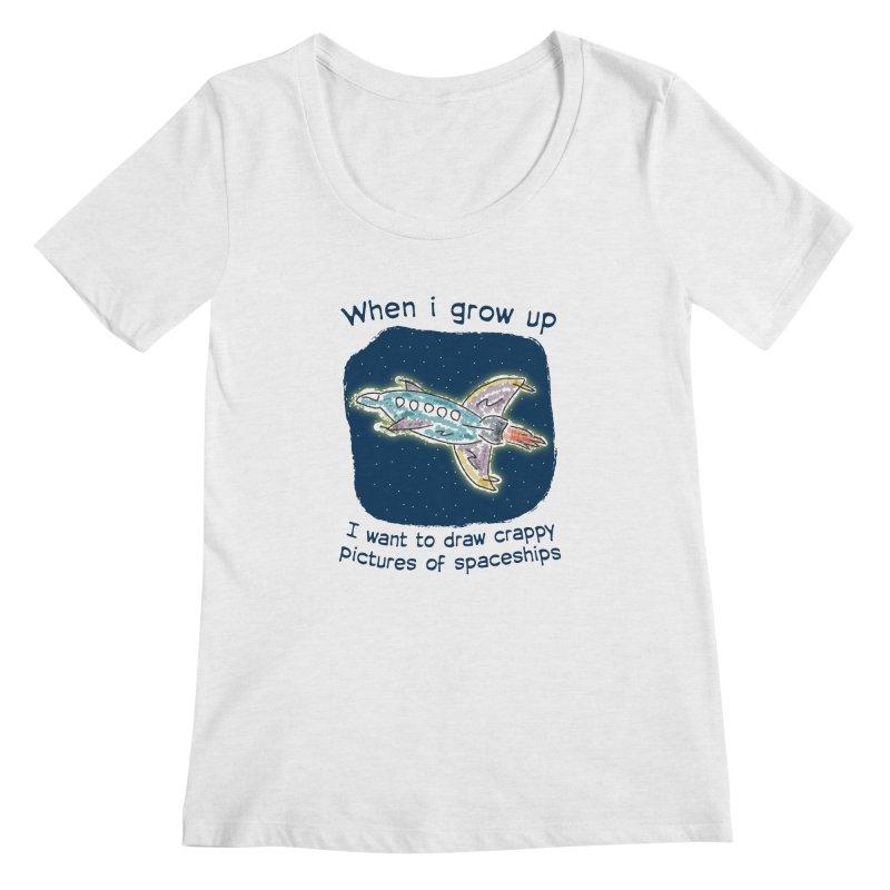 Crappy Spaceships Women's Regular Scoop Neck by Puttyhead's Artist Shop