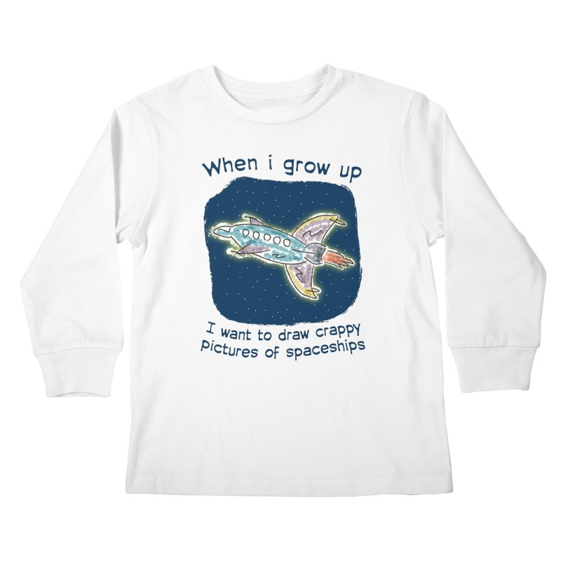 Crappy Spaceships Kids Longsleeve T-Shirt by Puttyhead's Artist Shop