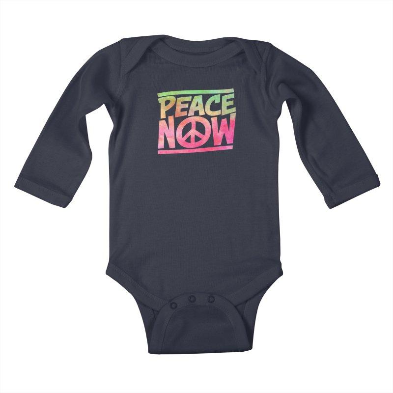 Peace Now Kids Baby Longsleeve Bodysuit by Puttyhead's Artist Shop