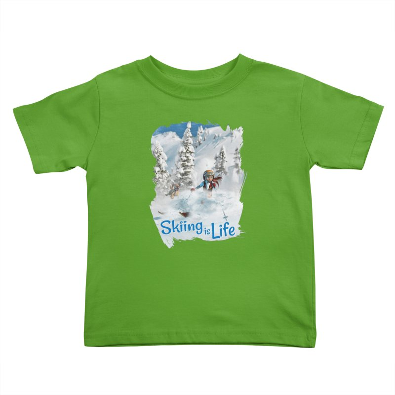 Skiing is Life Kids Toddler T-Shirt by Puttyhead's Artist Shop