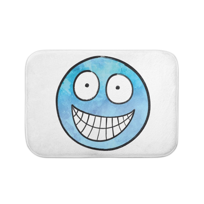 Smiley-Face - Blue Home Bath Mat by Puttyhead's Artist Shop
