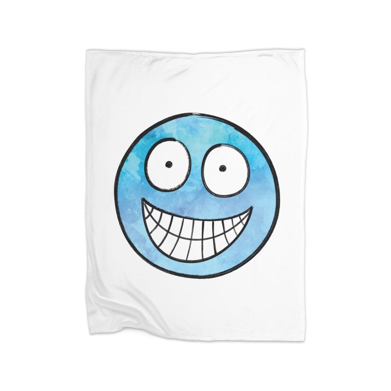 Smiley-Face - Blue Home Blanket by Puttyhead's Artist Shop